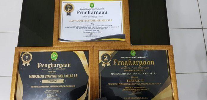 Kinerja Tahun 2019 Berprestasi, MS Sigli Terima 3 Penghargaan | (17/2)
